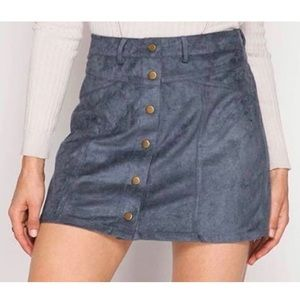 She + Sky Blue faux suede Button skirt